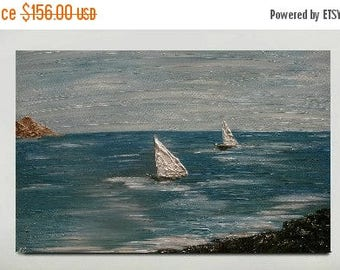 SALE Original Modern  Boat  Seascape  Acrylic Impasto  Texture  Wall Art Palette Knife  Sea  Painting. Size 36 x 24.