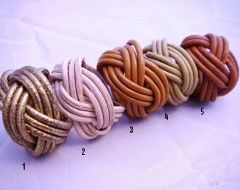 shades of Brown braided leather ring