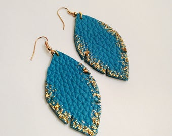 Dark turquoise and gold leather earrings