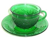 Anchor Hocking Forest Green SANDWICH Tea or Coffee CUP and SAUCER