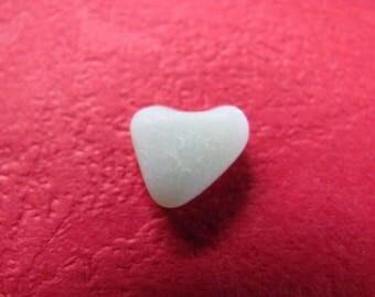 Sea glass heart sea foam milk glass heart