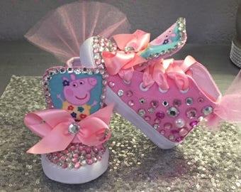 Peppa Pig Sneakers**Inspired*Peppa Pig Bday* Peppa Pig Custom*Peppa Pig Tutu*Peppa Pig Party Invatation*Peppa Pig Rhinestone Sneakers*Tutus*