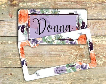 Floral front license plate, Orange and purple, Monogrammed car decor, Unique gift for mom, Matching car accessories, Custom Gift Set (1772)
