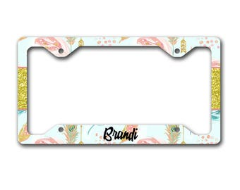 Monogram license plate frame, Faux glitter, Gifts for grand daughter, Sweet 16, First car gift Light blue gold pink Aztec feathers (1677)
