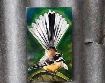 New Zealand FANTAIL BIRD, NZ Native Bird, Mini Outdoor Wall Art Panel from my original silk painting. Gift for him, 20cm x 12cm, Kitchen Art