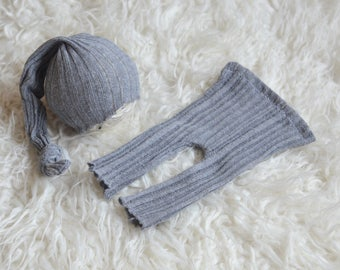 RTS Newborn boy/girl set of pants with matching sleepy hat Newborn Baby boy photo prop grey lace knit