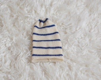 RTS simple knit stripey slouch hat Newborn baby boy photography prop luxury alpaca yarn cream and navy stripes
