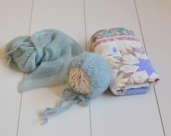 RTS OOAK Vintage quilt layer mohair wrap and fluffy alpaca bonnet set pastel sage bundle vintage girl/boy photography prop layer