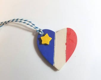 Acadian Heart Shaped Holiday Ornament, Handmade ceramic Decor, Acadien Heritage