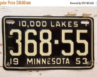 ON SALE Vintage, Minnesota, 1953, Wheaties, Bike Plate, Bicycle, License Plate, 10,000 Lakes, Cereal Premium, Miniature, Tin, Embossed, Coll