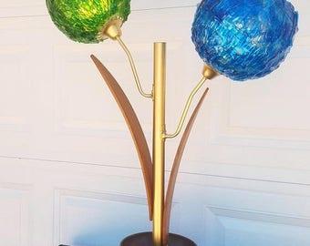 ON SALE Vintage, Mid Century, Danish Modern, Lucite Spaghetti Ribbon, Teak, Floral Table Lamp, Planter Lamp