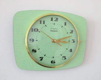 French 1950-60s Atomic Age TROPHY Light GREEN Formica Wall Clock - Funky Shape - Good Working Condition