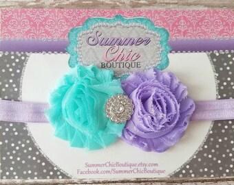 Easter Headband, Baby Headband, Infant Headband, Newborn Headband, Seafoam and Lavender and Aqua Headband, Easter Headband