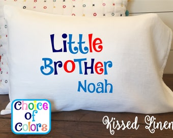 Personalized Big Little Brother Sister Cousin Mom Dad on White Toddler Travel Pillowcase Soft 100% Cotton Flour Sack Fabric Choice of Colors