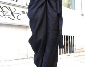 SALE Loose Linen Black Pants / Wide Leg Pants Autumn Extravagant Collection A05034