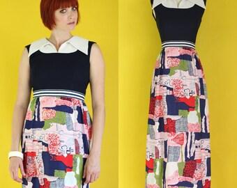 Vintage 70s Maxi Dress - Summer Dress - Long Dress - Hostess Dress - Navy Blue Colorful Dress - Sleeveless Dress - Print Dress Sz Small / XS