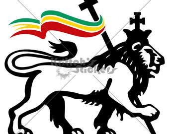 50% OFF SALE - Lion of Judah with Rasta Flag Vinyl Decal (11 x 10 inches, black lion) K157