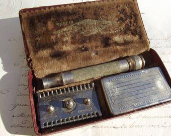 Antique French Shaving Set Gentleman's Grooming Razor kit Gillette razor case blades holder
