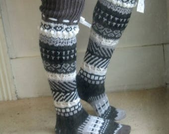 monochrome magic over the knee hand knitted socks