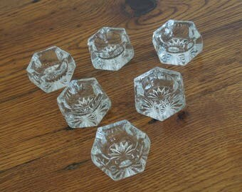 Vintage Glass Salt Cellars Salt Dips Set of 6 Matching