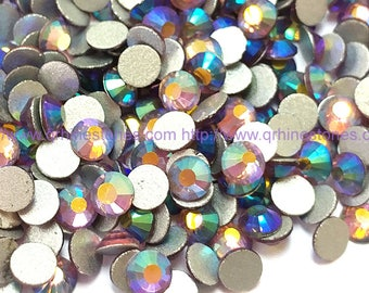 144pcs Light Amethyst AB Flat Back Crystal Rhinestone Aurora Borealis Effect 4mm 5mm purple AB