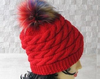 Faux Fur Pom Pom Hat, Women's  Beanie, Vegan Pom Hat, Winter Accessories Red