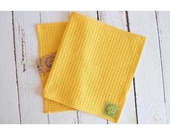 Paper towel, dishcloth, cotton towel organic honeycomb Yellow Sun, zero waste, economical, reusable