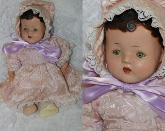 Vintage 1930s/40s Composition Baby Doll - Cloth Body and Legs - Unmarked - Tin Sleep Eyes - Molder Hair -  Good Condition