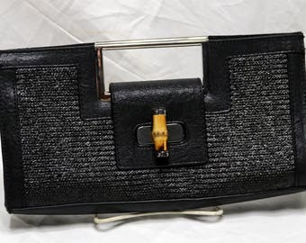 Vintage Woven Leather Edge Clutch - Purse  -  Bamboo Twist Clasp - The Limited