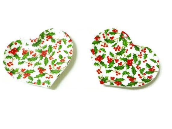 Petits coeurs en porcelaine d cor houx de no l - Le houx porte bonheur ...