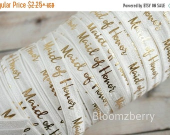 "Summer SALE 10% OFF 5/8"" PRINTED Fold Over Elastic -White w/Gold Maid Of Honor - Wedding Elastic Fold Over - Maid of Hornor Elastic -Hair Ac"