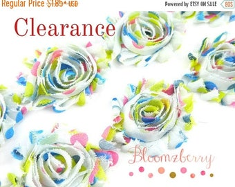 """Closed Out Sale 40% OFF 2.5""""  PRINTED Shabby Rose Trim - Rainbow Party Dots - Summer/Fall/Winter - Chiffon Trim - Shabby Rosettes - Accessor"""
