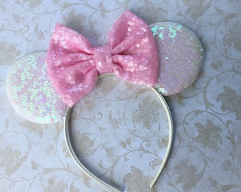 Minnie Mouse Ears, Minnie Mouse Birthday, Mickey Mouse Ears, Mouse Ears Headband, Iridescent Sequin Mouse Ears, Disney Vacation, Pink Bow