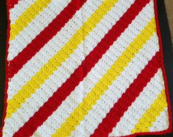 Baby Blanket, Baby Afghan,  Baby Shower Gift, Gift For Boy, Gift For Girl, White,Red,yellow
