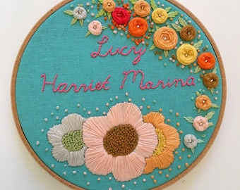 Hand Embroidered Hoop - personalised name hanging art - baby's room - child's bedroom - birthday baby shower christening gift