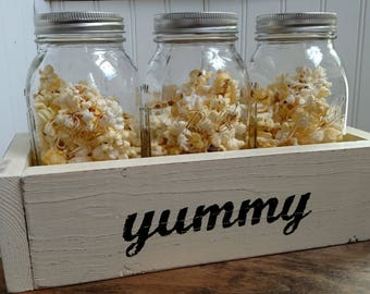 Mason Jar Personalized Box - Wood Box with 3 Large 32oz Mason Jars - Mason Jar Centerpiece - Mason Jar Gift Box - Choose Color and Words