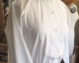 CUSTOM ORDER Classic Victorian Edwardian Style Cotton Tailored Shirt Downton Abbey Equestrian Steampunk Goth Vampire Wedding Theater Boho
