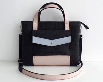 Melange Black Blue Pink Felt Leather Handbag