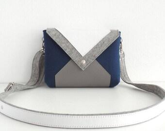 Dark Blue Gray White Wool Felt Genuine Leather Crossbody Bag