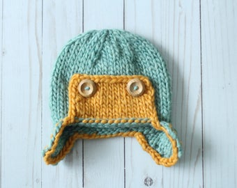 Knitted Aviator Beanie - Seafoam - Ready to Ship - 6-12 month