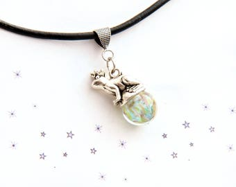 pastel fairy tale frog Toad Lampwork Glass Bead Necklace pendant