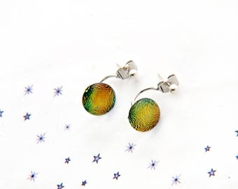 amber green fused glass dichroic chip Stud Earrings