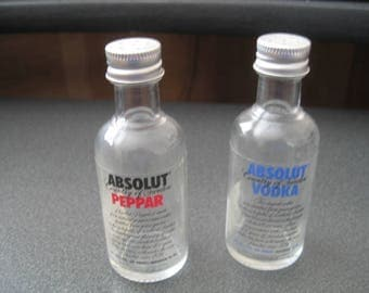Vintage Absolut Vodka Glass Salt and Pepper Shakers With Twist Off Tops