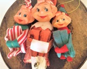 Vintage Knee Hugger Christmas Elves, Christmas Elves, Kitsch, Christmas Ornaments, Happy Elf, Japan, Lot of 3