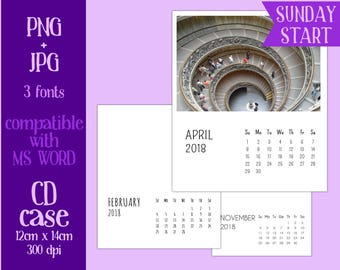 2018 CD Case Calendar templates PNG and JPG - 3 fonts - Sunday Start - personal or commercial use