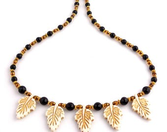 Black, Cream, and Gold Color Beaded Crystal Leaf Necklace, Autumn Jewelry, Gifts