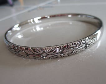 Vintage Whiting and Davis Co. Silver Etched Bangle Bracelet, Gift For Her, Birthday, Anniversary, Special Occasion Bracelet, 1960's