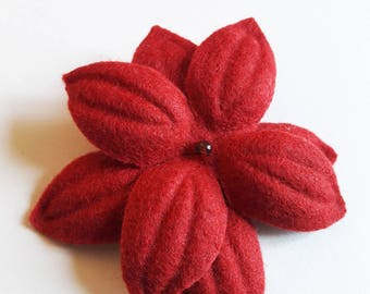 """Nimue"" red felt flower hair clip"