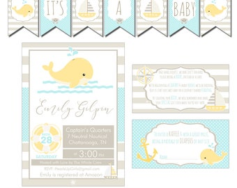 Digital Neutral Yellow Nautical Baby Shower Decorations Package Banner, Games, Diaper Raffle, Cupcake Toppers, Water Labels  CPP007