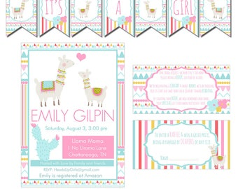 Digital Llama Mama in Pink, Aqua and Gold Baby Shower Decorations Package Banner, Games, Diaper Raffle, Cupcake Toppers, Water Labels CPP001